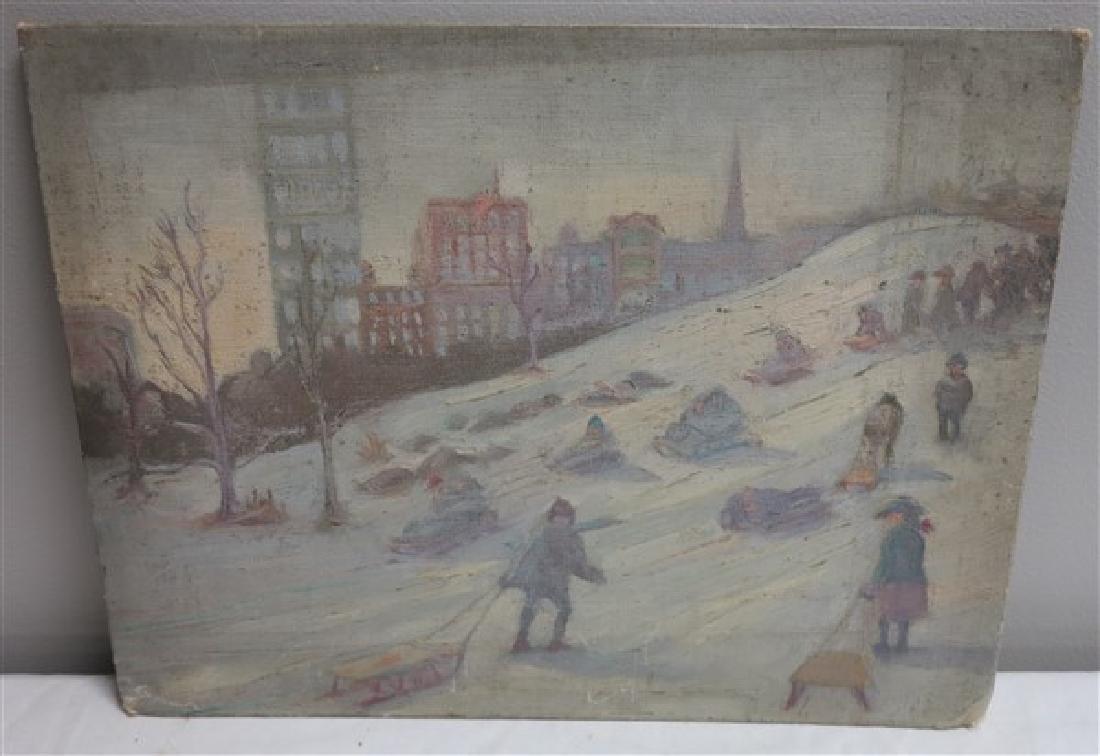 """O/B 12"""" x 16"""" Winter Scene w/ Cityscape background"""