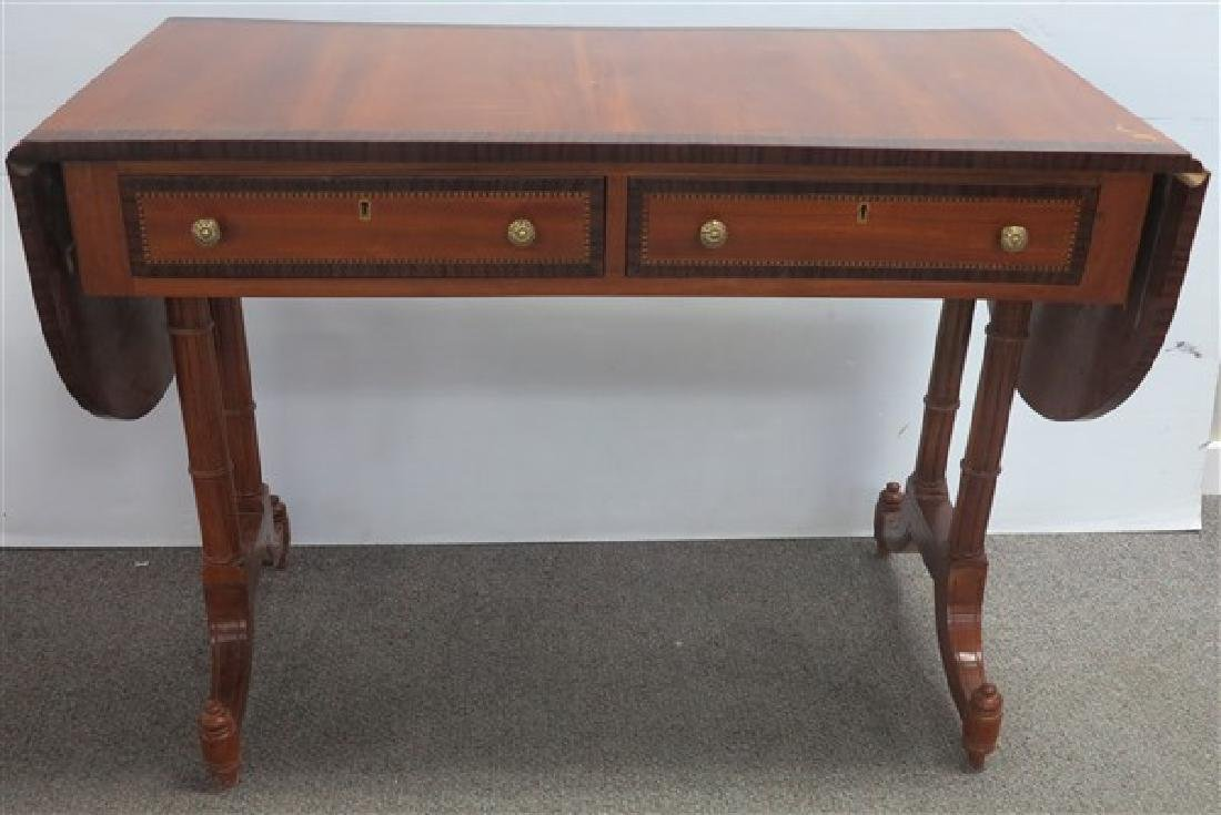 "Lovely 42"" Inlaid 2 Drawer Sofa Table"