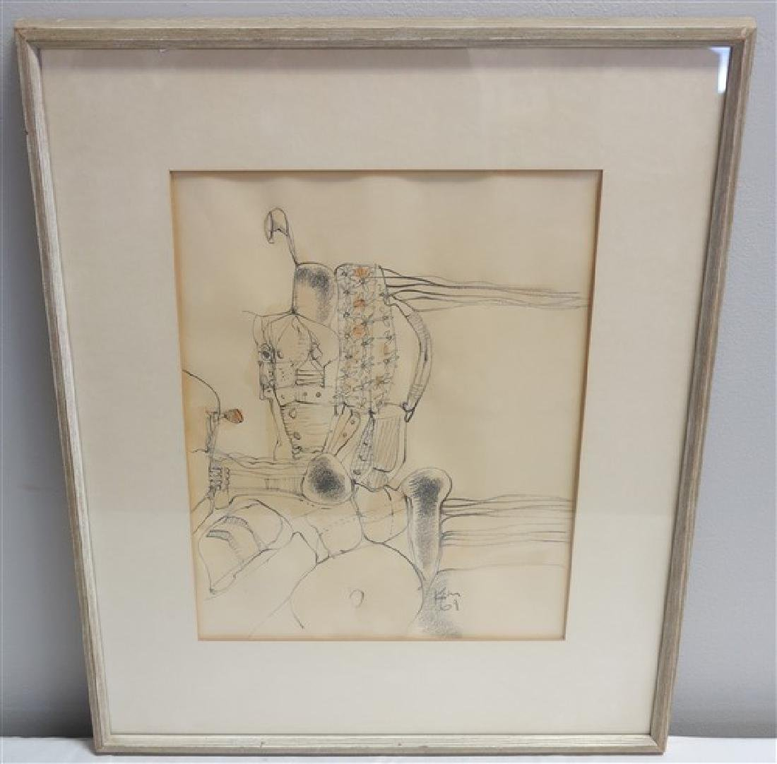 Graphite & Wash Drawing- Signed Keith Martin 1969