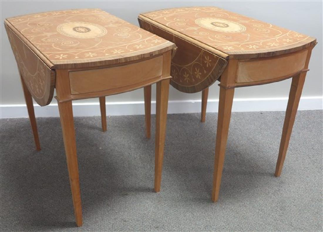 Pair of Inlaid Pembroke 1 Drawer Stands