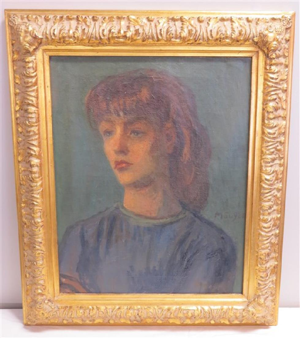 Framed o/c Portrait signed- M. Soyer