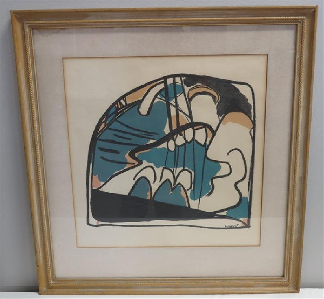 Framed Abstract Lithograph Kahaeskin(?)