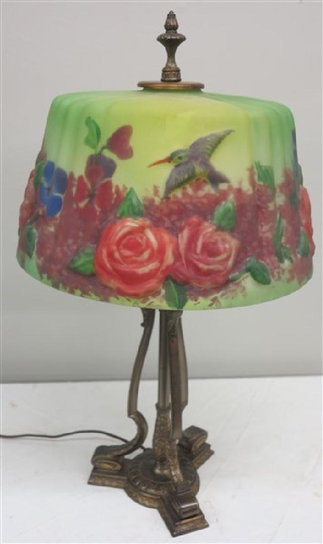 Lamp w/ Painted Satin Glass Shade