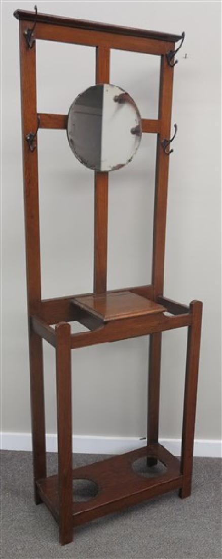 2 Piece Oak Lot- Hall Tree & Mission Side Chair