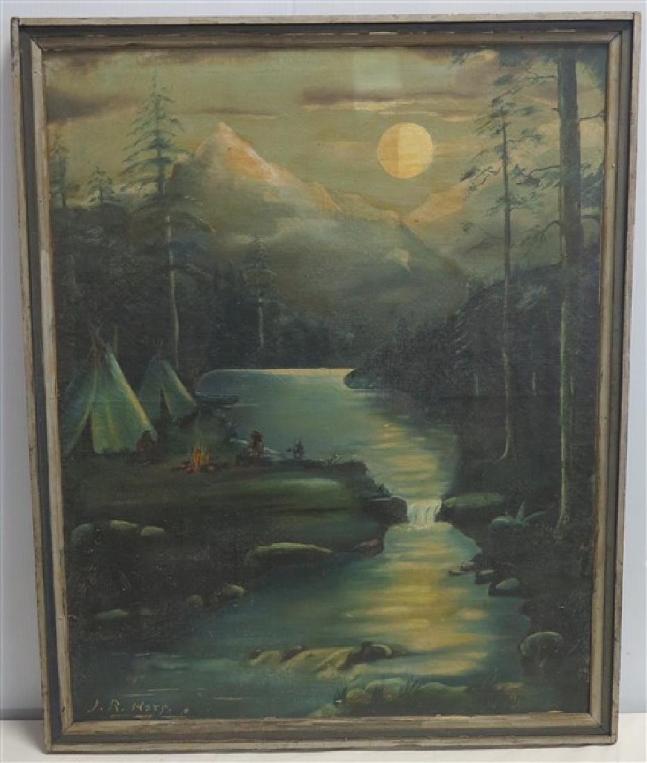 Signed JR Harp- Indians in the moonlight