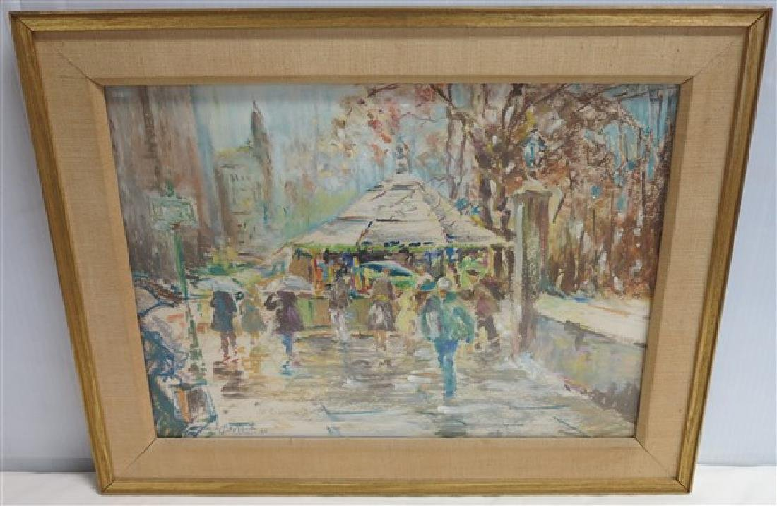 """Signed Watercolor Dated 1958- 13.5"""" x 17.5"""" Frame"""