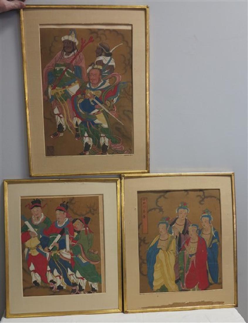 3 Framed Japanese Watercolors