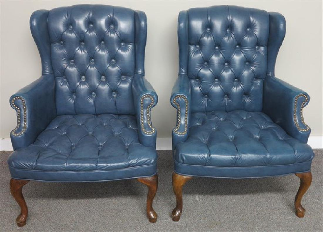 Pr. of Tufted Wing Chairs