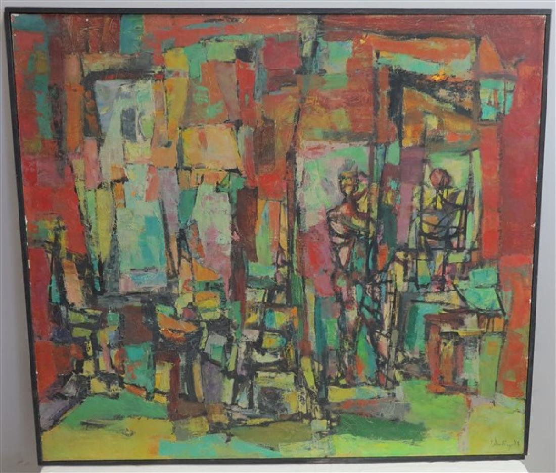 Interesting Framed Abstract- Sgnd & Dated 1958