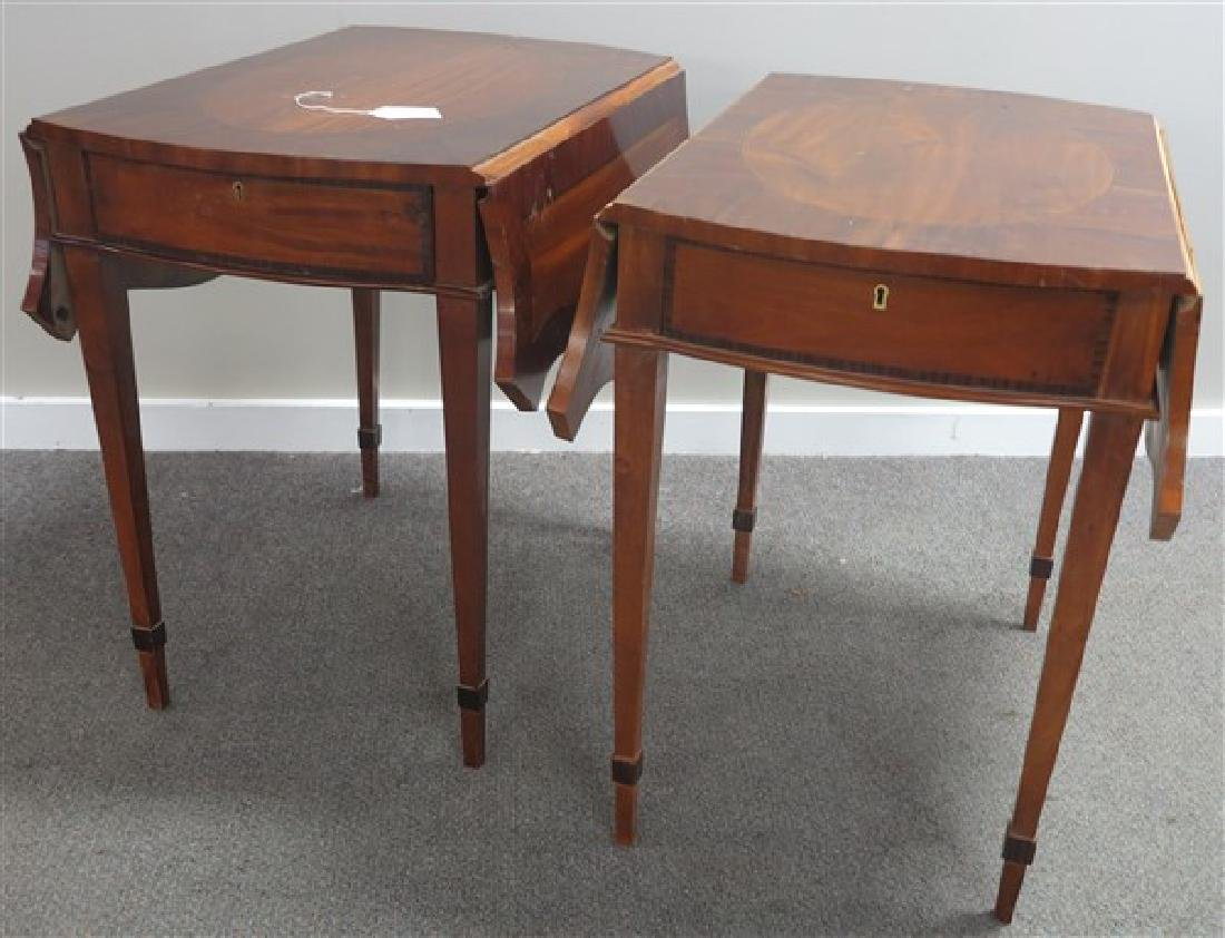 2 Inlaid Satinwood & Mahog Pembroke tables