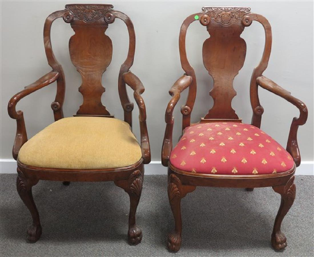 Pr High Quality Queen Anne Style Armchairs