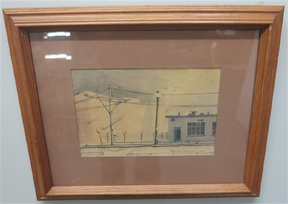 Signed Industrial Watercolor