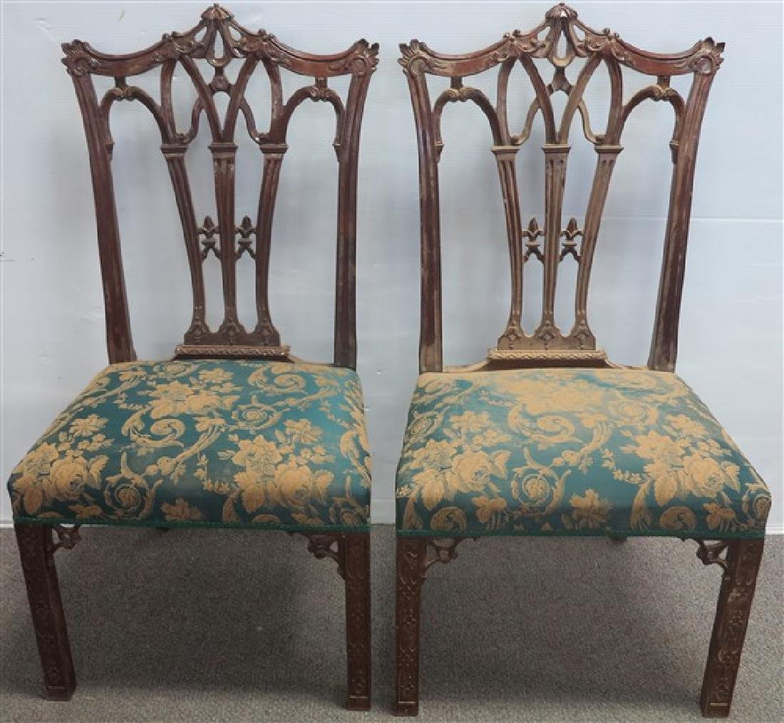 Pr. Custom Chinese Chippendale Side Chairs