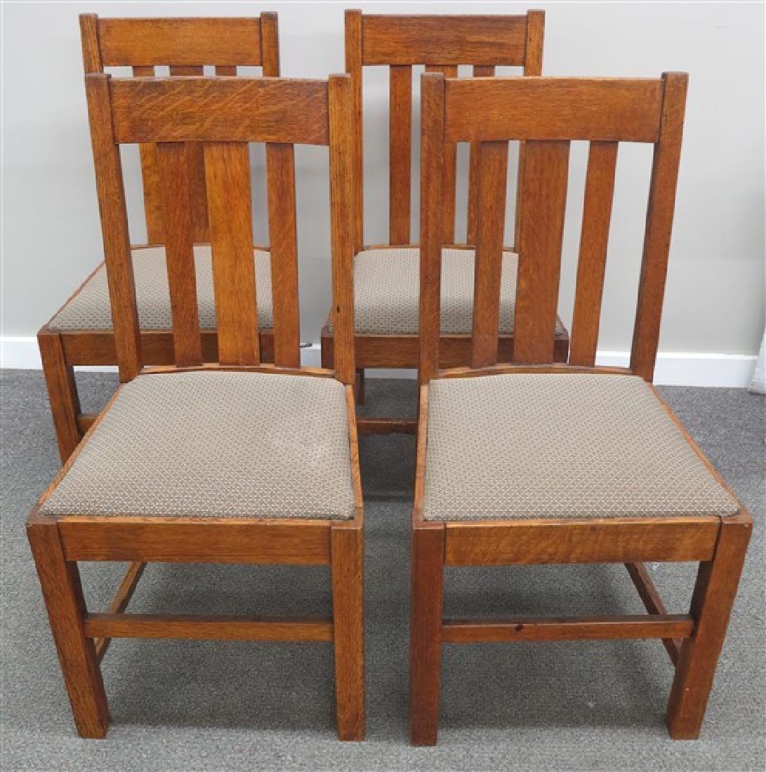 4 Mission Oak Side Chairs