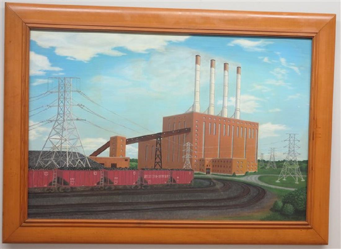 Framed Industrial Painting- o/c