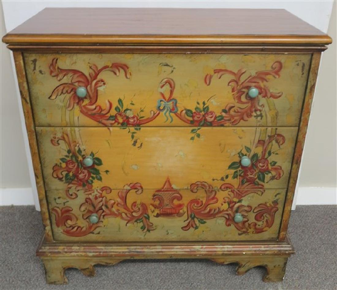 Contemporary 3 drawer Paint Decorated Chest