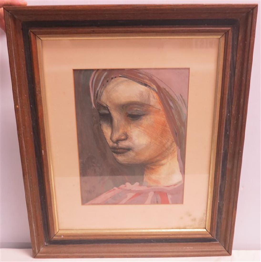 Framed and Signed Watercolor Portrait