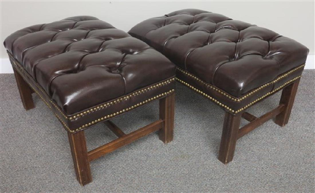 Pair of Tufted Ottomans w/ Brass Tackings