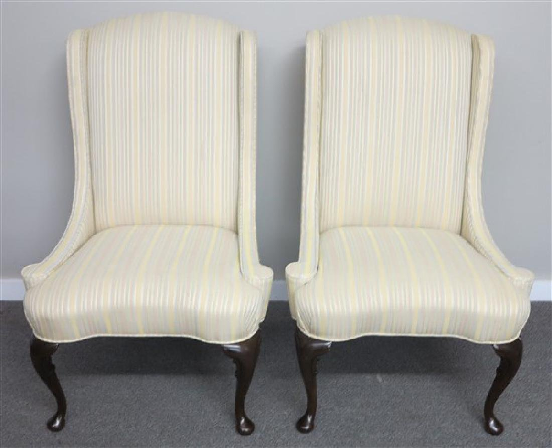 "Pair of Striped ""Heritage""  Wing Chairs"