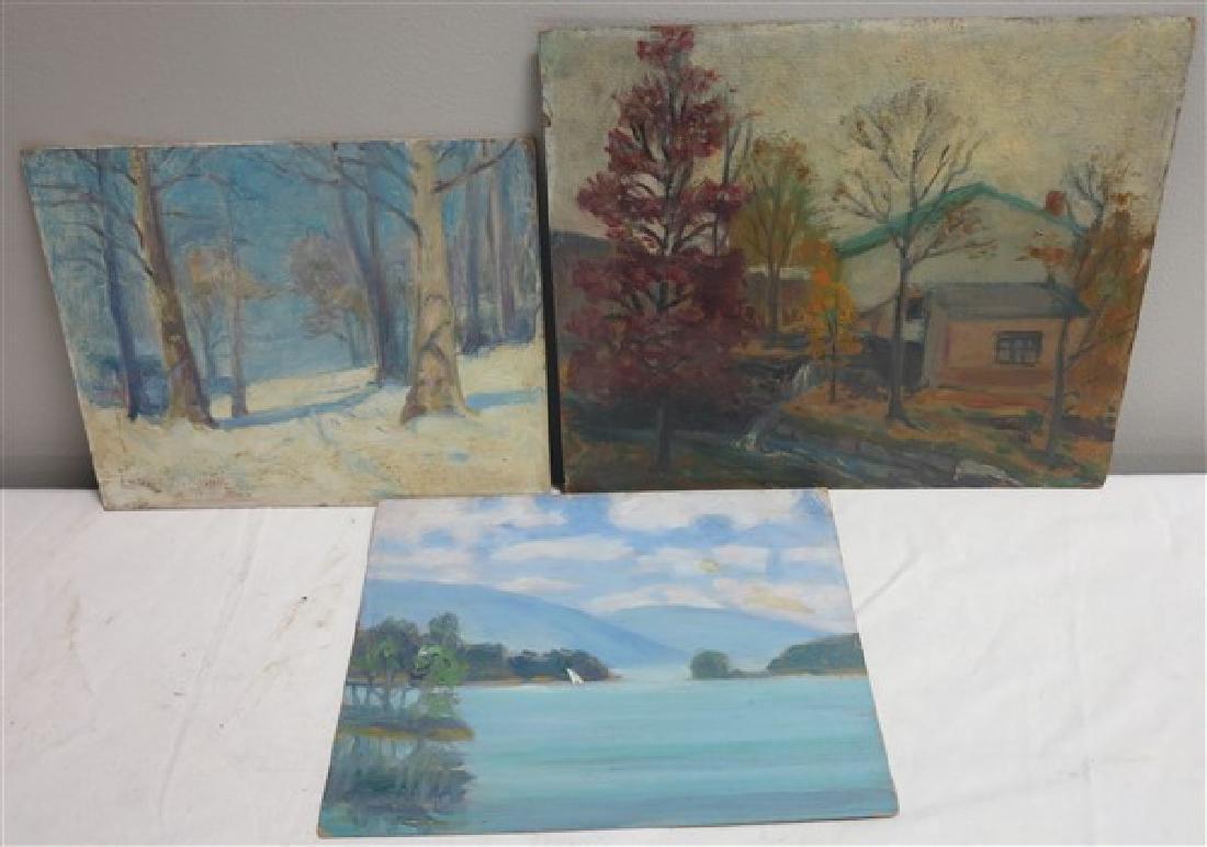 3 Unframed Paintings- 1 Signed Louise Kamp