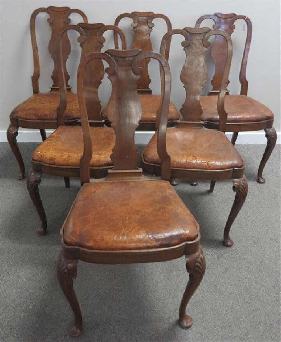 6 Leather seat Queen Anne Style Side Chairs