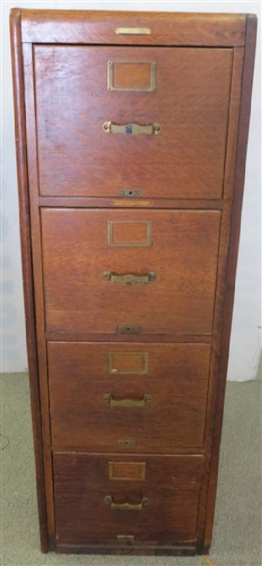 4 Drawer Oak Built in File Cabinet