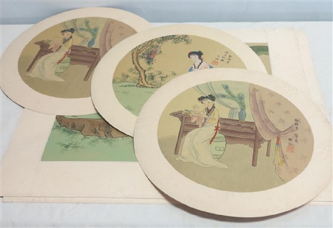 Lot of Unframed Japanese Watercolors