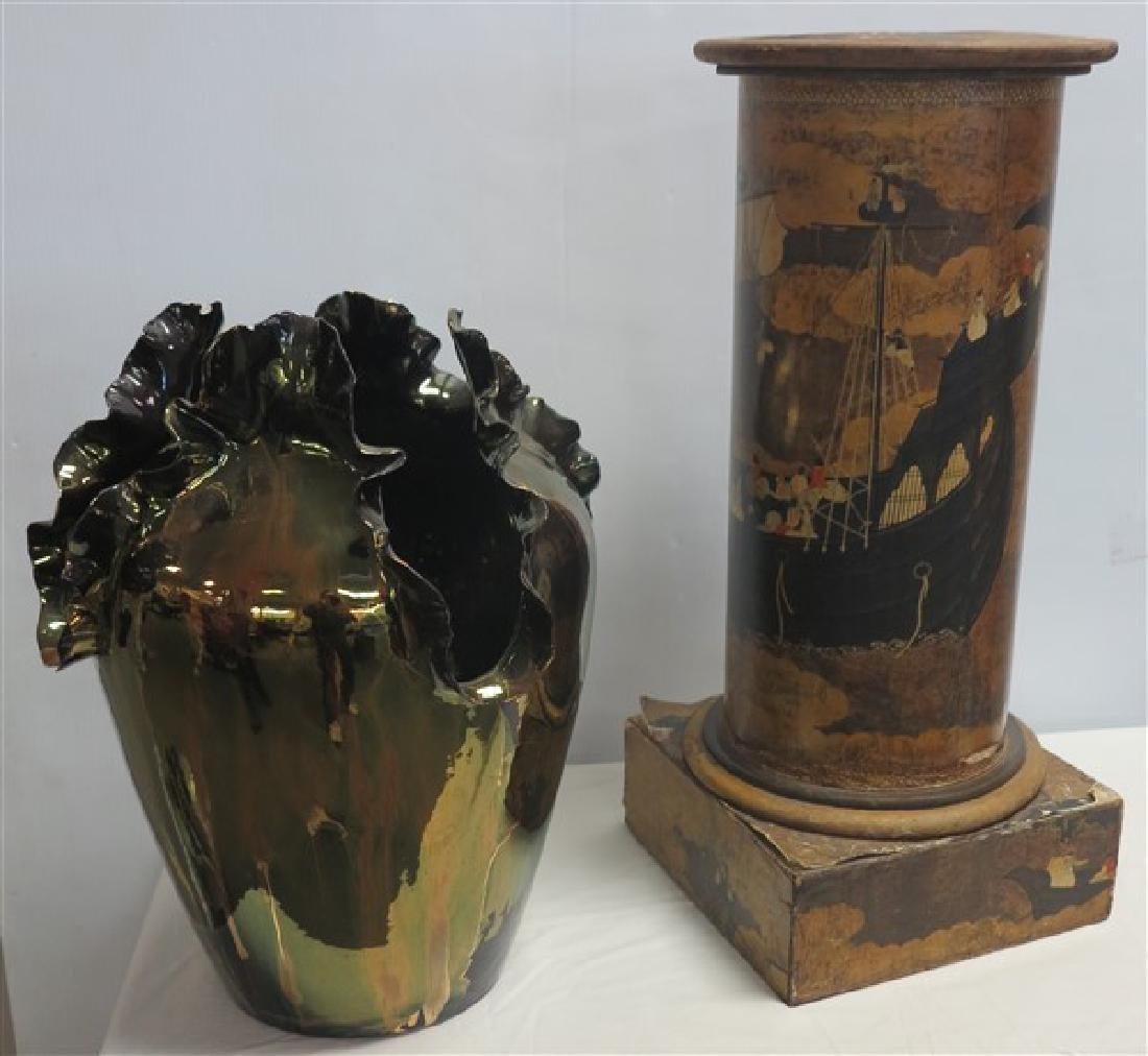 Floor Vessel & Decoupage Pedestal