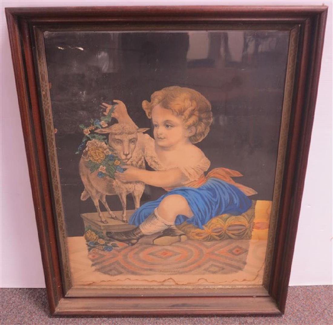 Framed Victorian Colored Print in Walnut Frame