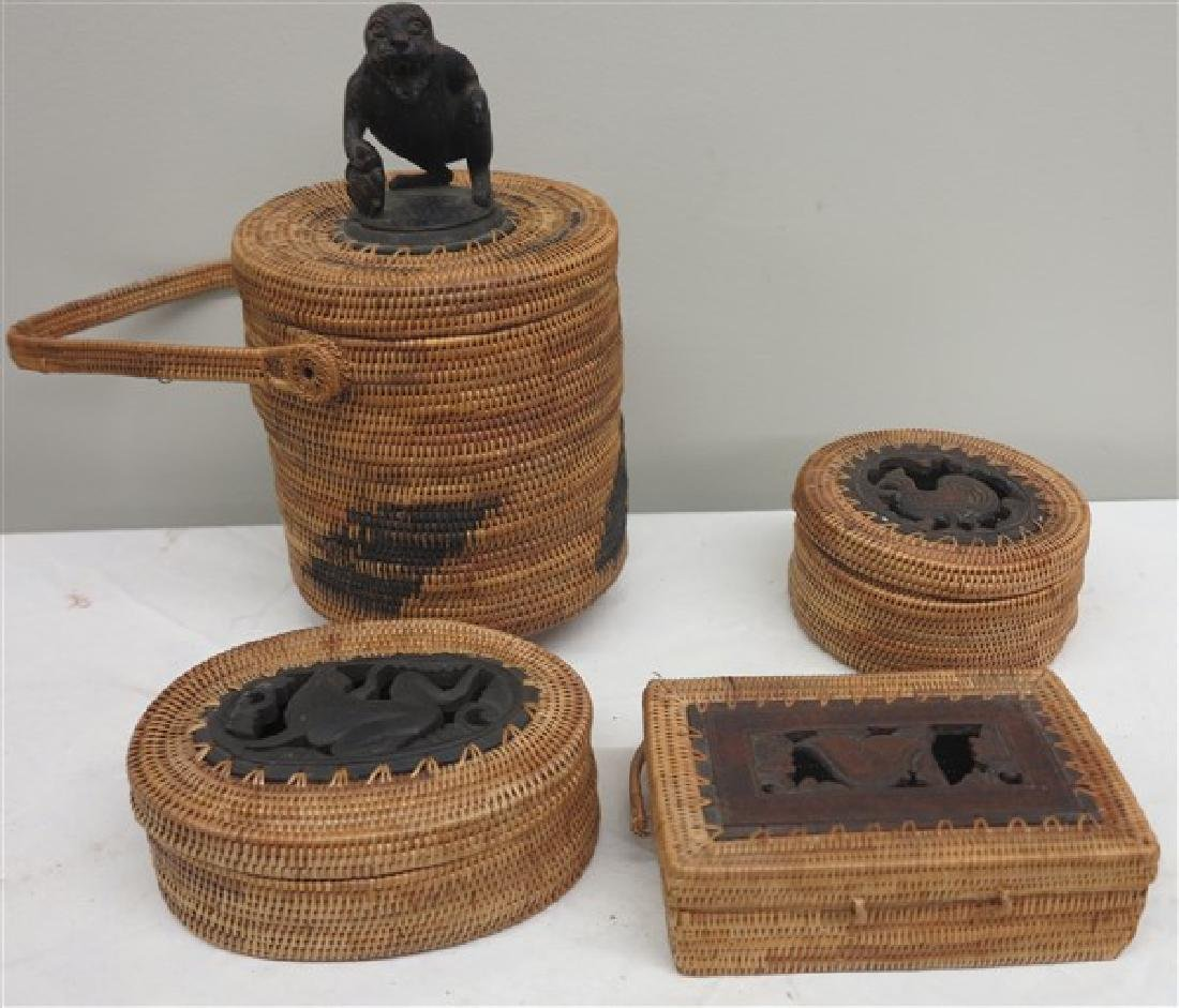 4 Small African Baskets