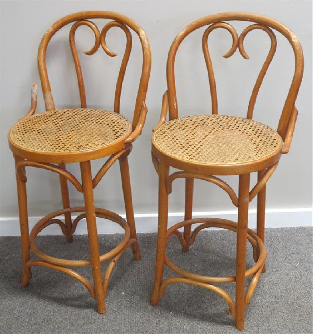 2 Cane & Bentwood Stools=AS IS