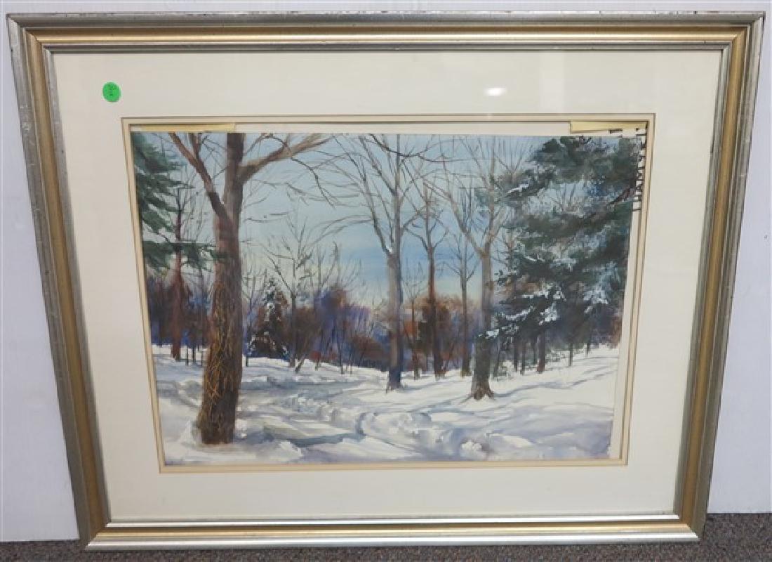 Framed Watercolor- Winter Scene