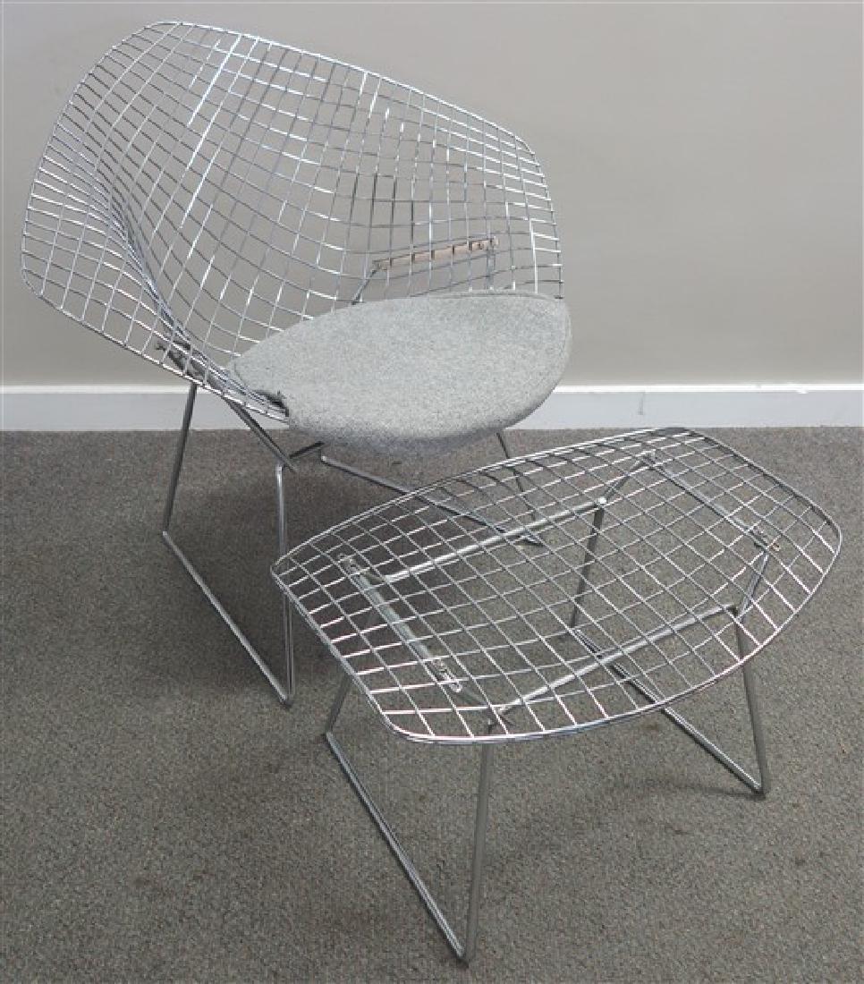 Midcentury Chrome Chair & Ottoman