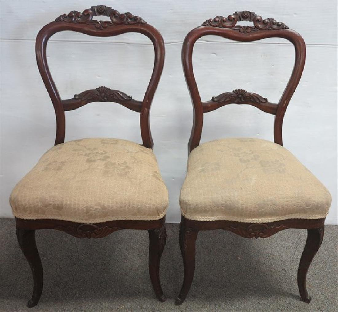 Pr Victorian Rosewood Side Chairs