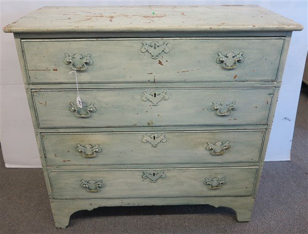 18th Cent 4 Drawer Chest with Green Paint