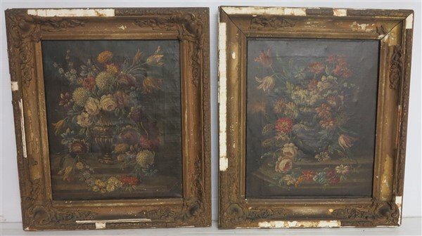 """Two 19th Cent Still lifes o/c 18"""" x 21"""" overall"""