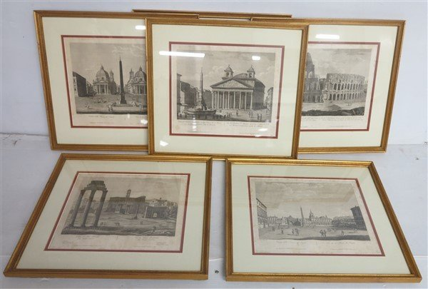 """6 Framed Classical Prints dated 1825 """"Old Print Shop"""""""