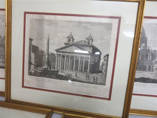 """6 Framed Classical Prints dated 1825 """"Old Print Shop"""" - 4"""