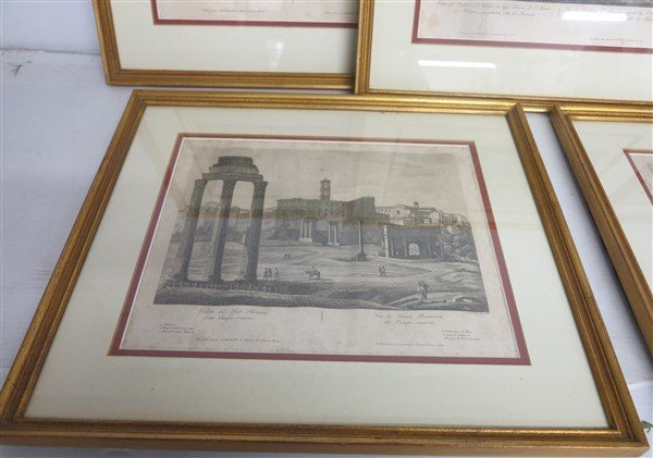 """6 Framed Classical Prints dated 1825 """"Old Print Shop"""" - 6"""