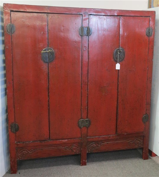 "19th Cent Red Lacquered 4 Door Chinese Cabinet 72""h x - 2"