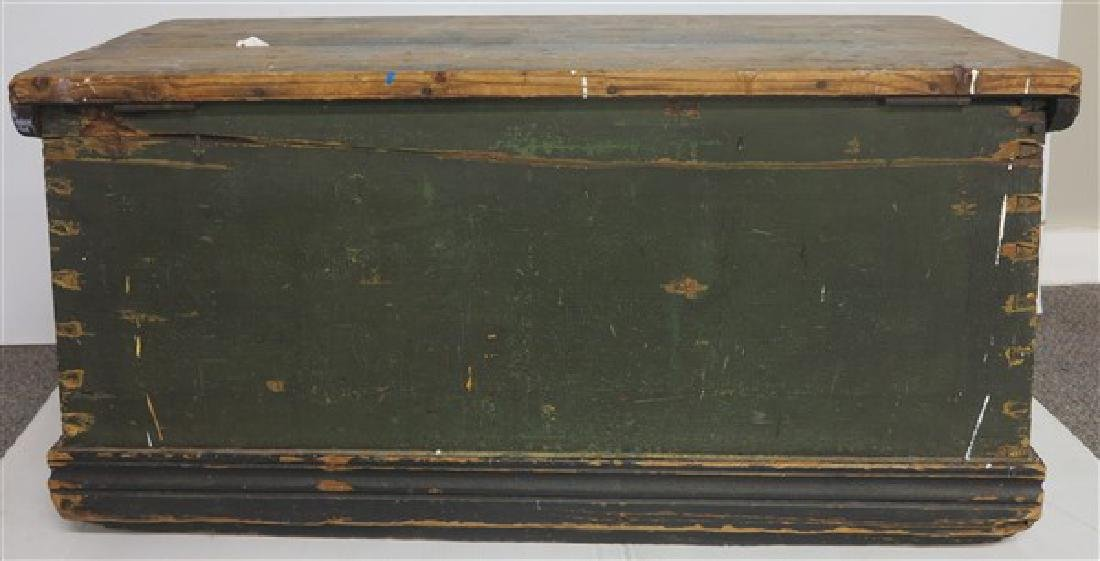 19th Cent Sea Chest in Green Paint