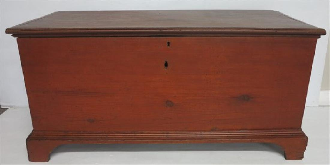 Blanket Box with Bracket Base in Red Wash