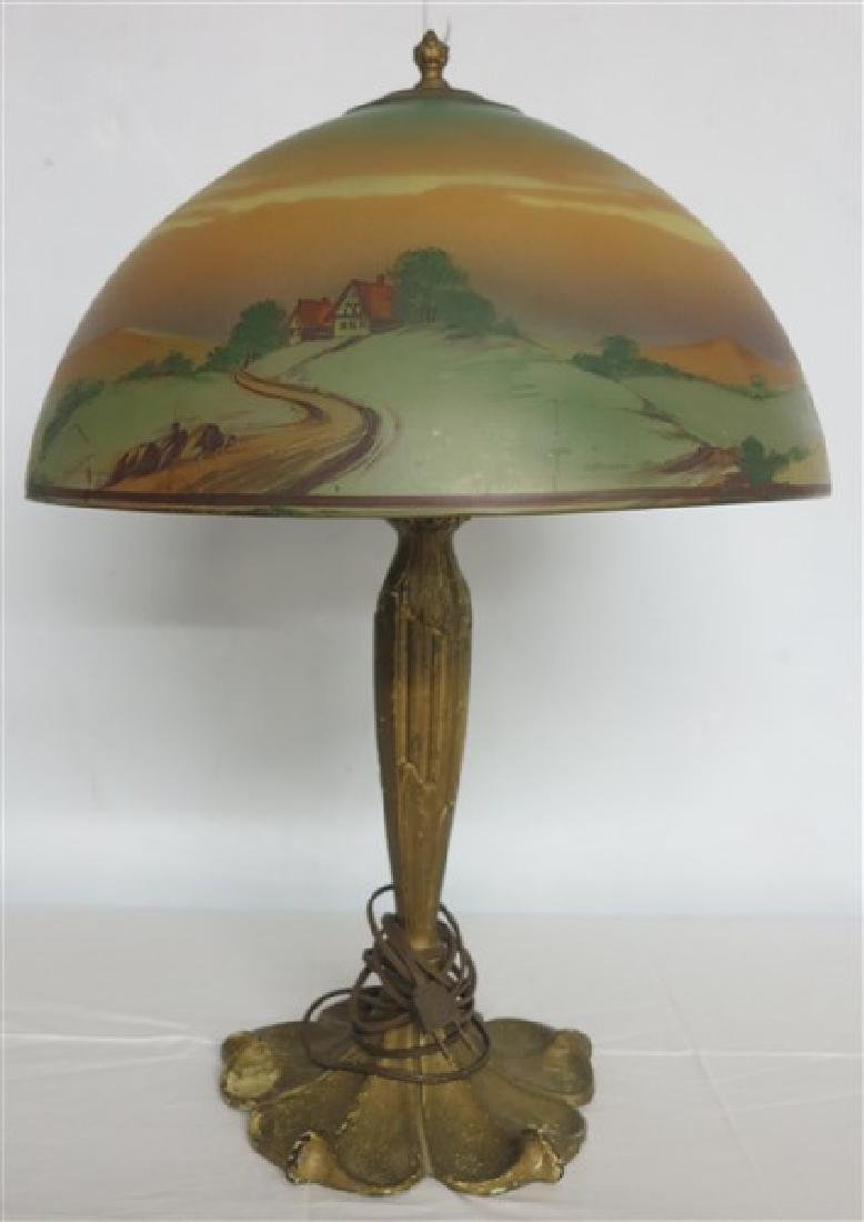 Reverse Painted Parlor Lamp