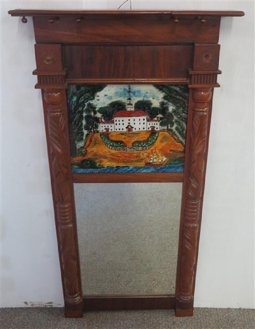 2 Part 19th Cent Mirror with Reverse painted tablet