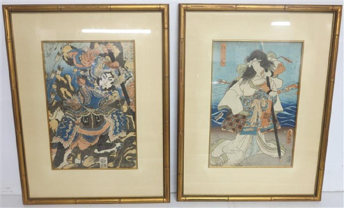2 Japanese hand colored prints