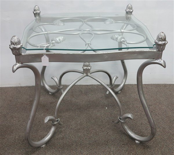 """good looking metal & glass table 21.5""""h x 24""""sq"""