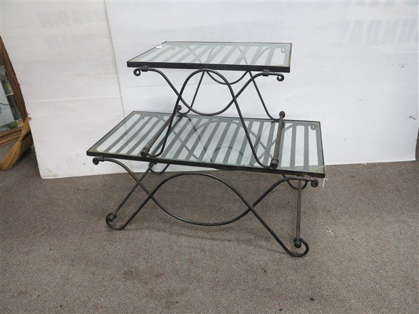 2 nice quality glass & iron tables