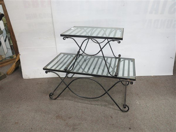 2 nice quality glass & iron tables - 2