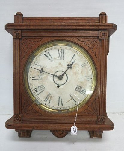 Carved Oak Kitchen Clock