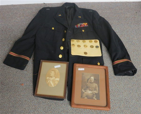 Military Lot- coat, buttons, photographs